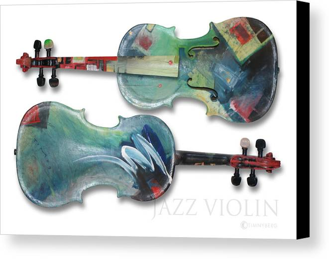 Violin Canvas Print featuring the painting Jazz Violin - Poster by Tim Nyberg