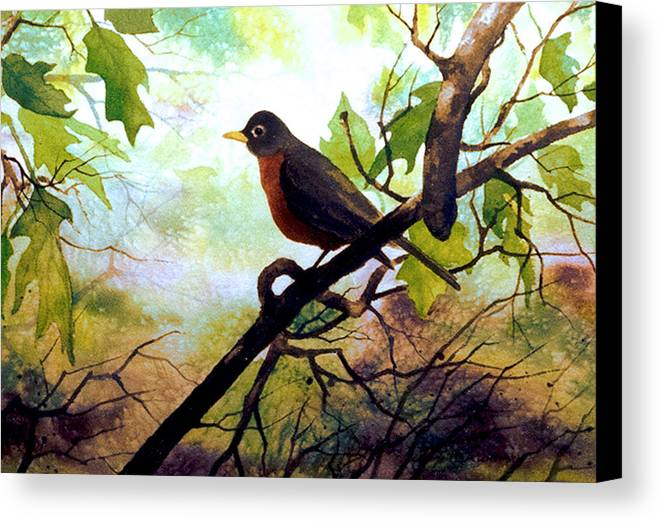 Wild Life Canvas Print featuring the painting Just Ate And Cooling Off by Brooke Lyman