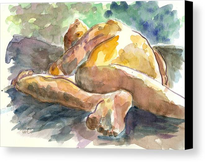 Nude Man Canvas Print featuring the painting Just Him. by Tali Farchi