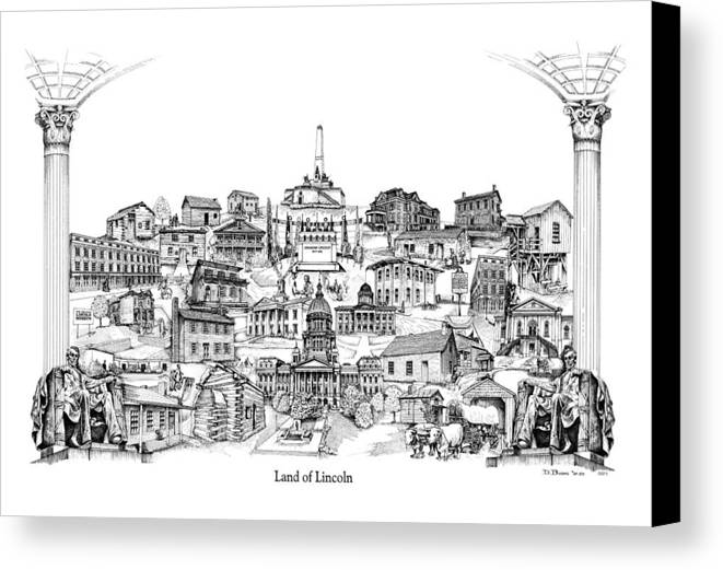 City Drawing Canvas Print featuring the drawing Land Of Lincoln by Dennis Bivens