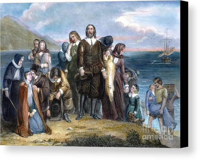 1620 Canvas Print featuring the photograph Landing Of Pilgrims, 1620 by Granger