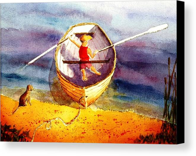 Child Canvas Print featuring the painting Learning To Row by Buster Dight
