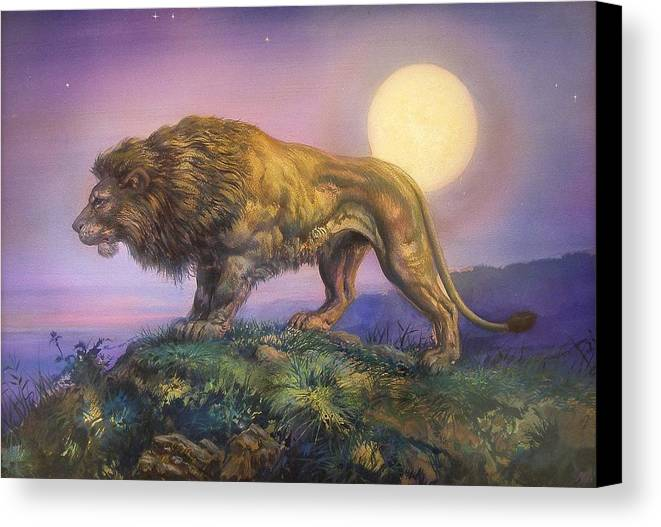 Jesus Helguera Canvas Print featuring the painting Leon Nocturno by Jesus Helguera