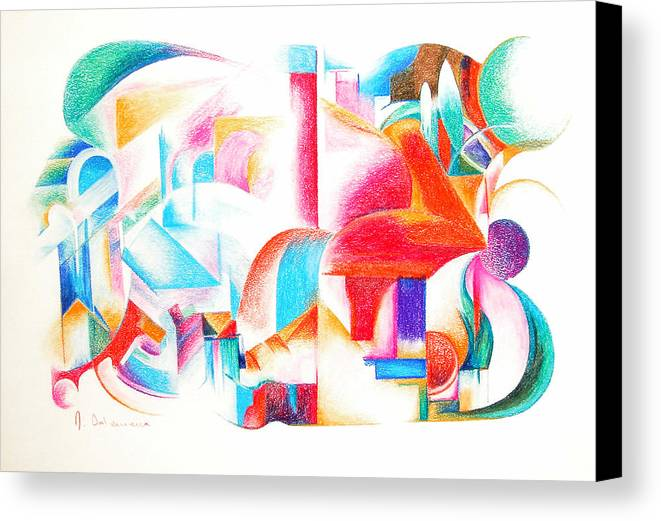 Abstract Canvas Print featuring the drawing Les Temps Modernes by Muriel Dolemieux