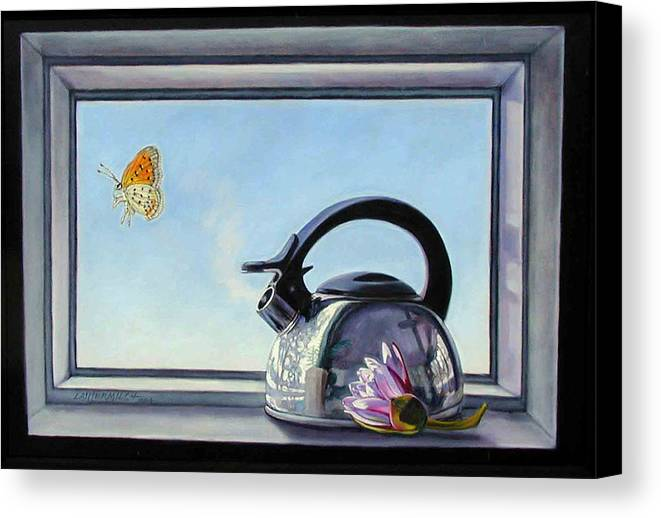 Steam Coming Out Of A Kettle Canvas Print featuring the painting Life Is A Vapor by John Lautermilch