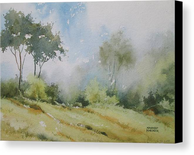 Landscapes Canvas Print featuring the painting Life On The Edge by Sandeep Khedkar