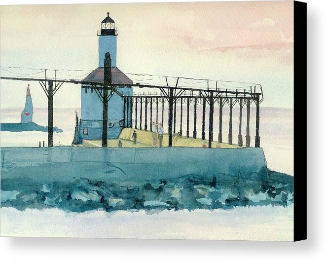 Lighthouse Canvas Print featuring the painting Lighthouse In Michigan City by Lynn Babineau