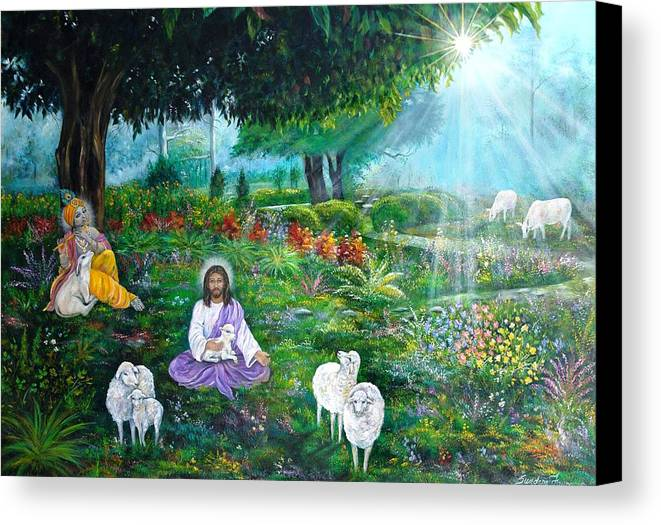 Jesus Canvas Print featuring the painting Lord Jesus And Lord Krishna by Sundara Fawn