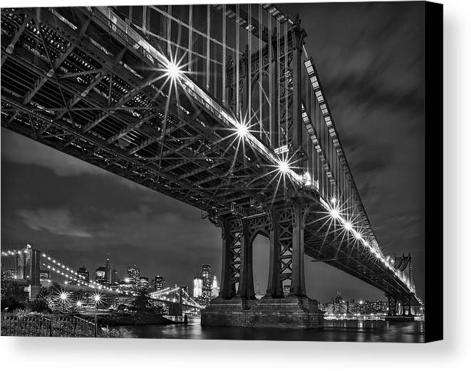 Manhattan Bridge Canvas Print featuring the photograph Manhattan Bridge Frames The Brooklyn Bridge by Susan Candelario