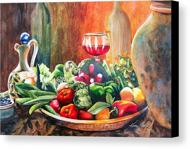Still Life Canvas Print featuring the painting Mediterranean Table by Karen Stark
