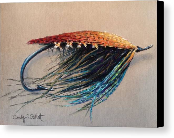 Fishing Canvas Print featuring the painting Midnight Blue by Cindy Gillett