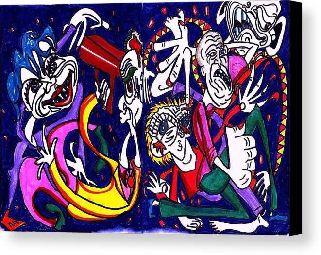 Blue Canvas Print featuring the drawing Mind Slap by Richard Hubal
