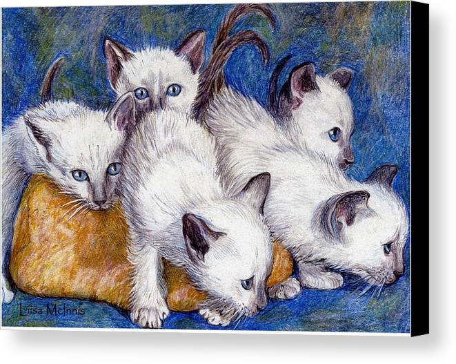 Cats Canvas Print featuring the drawing Mischief Makers by Liisa McInnis