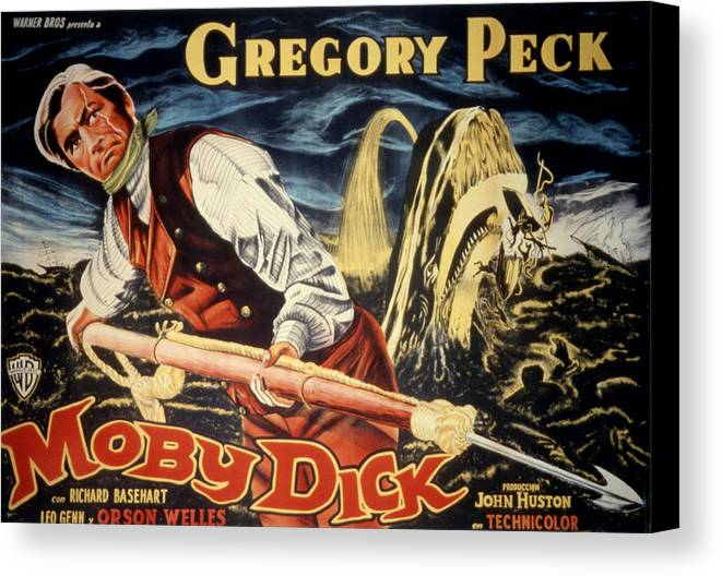 1950s Poster Art Canvas Print featuring the photograph Moby Dick, Gregory Peck, 1956 by Everett