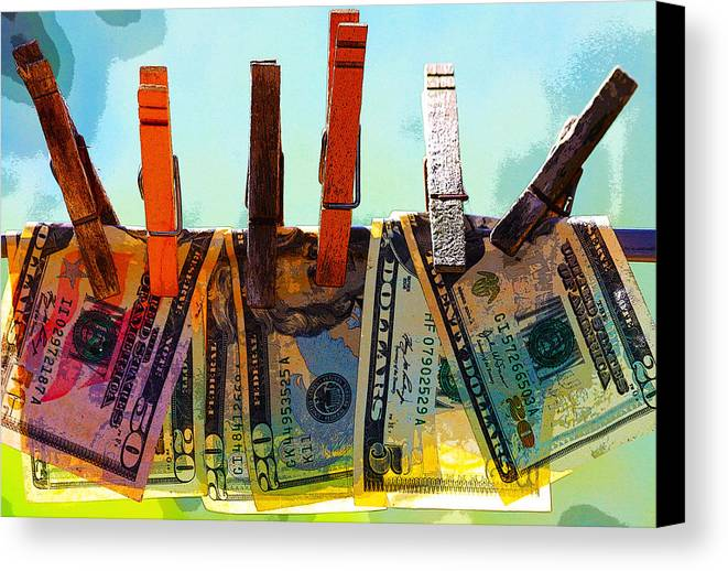 Clothespins Canvas Print featuring the digital art Money Laundering by Karon Melillo DeVega