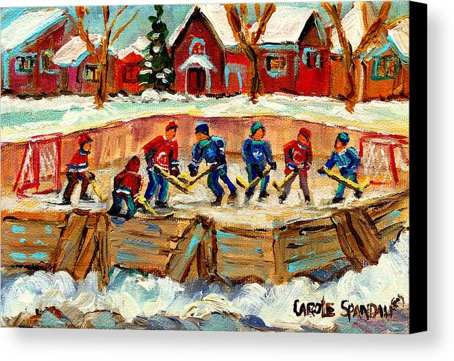 Montreal Canvas Print featuring the painting Montreal Hockey Rinks Urban Scene by Carole Spandau