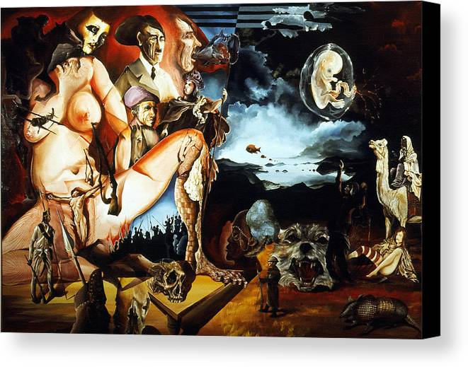 War Canvas Print featuring the painting Monument To The Unborn War Hero by Otto Rapp