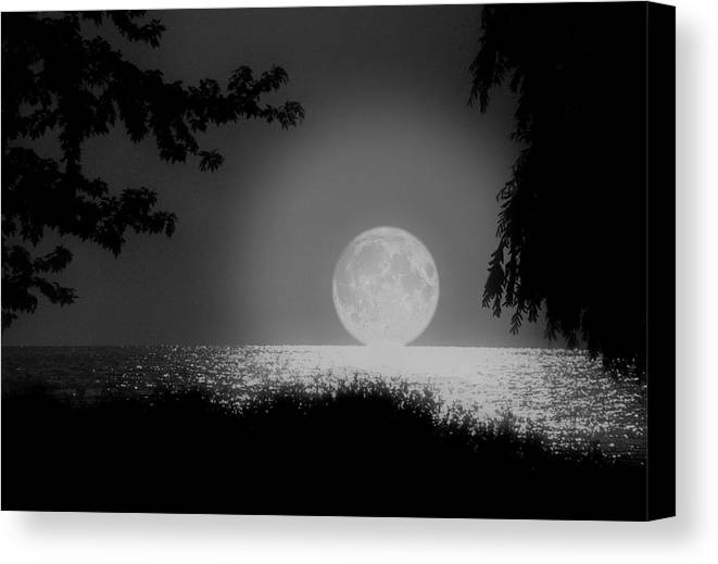 Moon Canvas Print featuring the photograph Moonset On Lake Erie by Kenneth Krolikowski