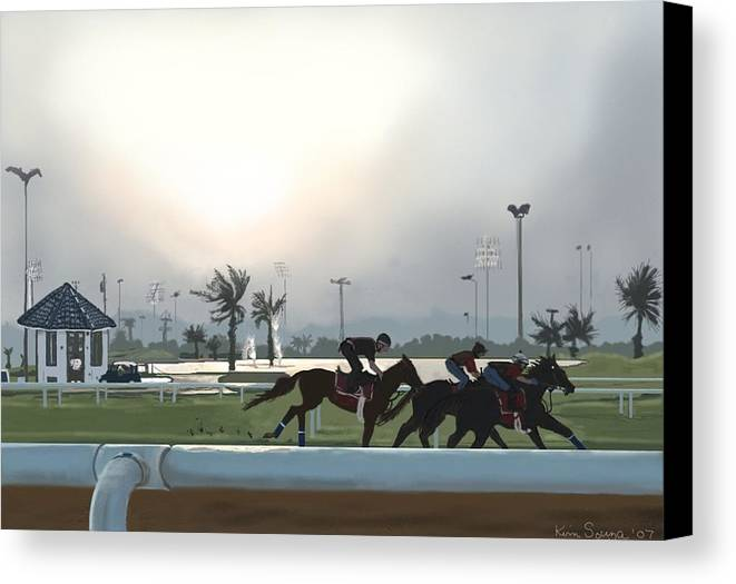Horses Canvas Print featuring the painting Morning Workout by Kim Souza