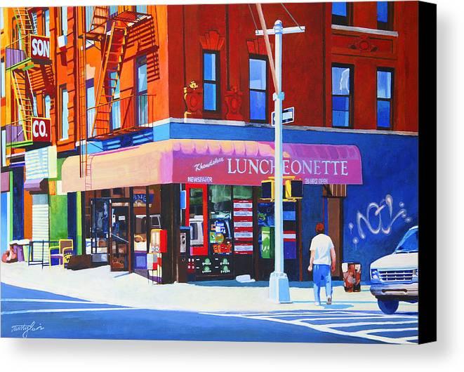 New York City Canvas Print featuring the painting Mott Street by John Tartaglione