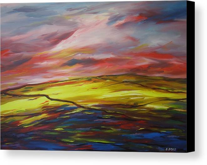 Mount Callan Canvas Print featuring the painting Mount Callan Sunlight by Eamon Doyle