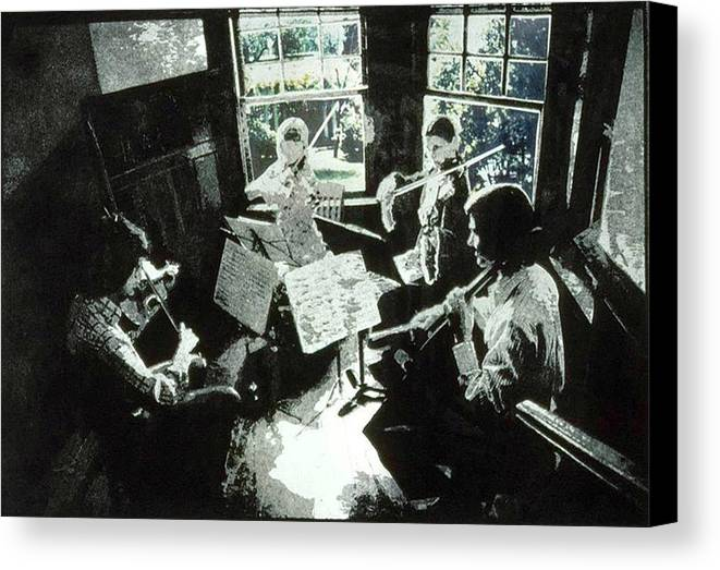 String Quartet Canvas Print featuring the mixed media Music As Light by Randy Sprout