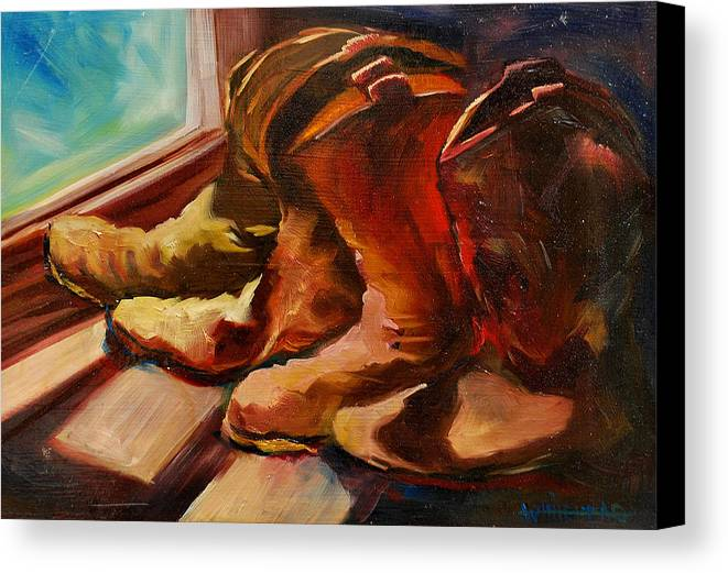 Boots Canvas Print featuring the painting My Favorite Boots by Diane Whitehead