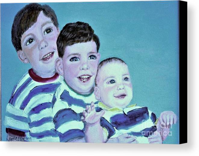 Children Canvas Print featuring the painting My Three Sons by Laurie Morgan