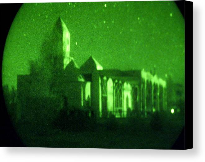 Mosque Canvas Print featuring the photograph Night Vision Mosque Kandahar by Thomas Michael Corcoran