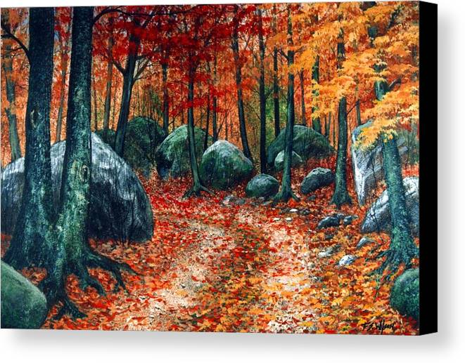 Landscape Canvas Print featuring the painting October Woodland by Frank Wilson
