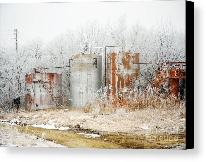 Kansas Canvas Print featuring the photograph Oil Tank Farm by Fred Lassmann