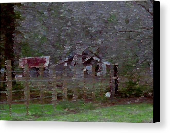 Impressionism Canvas Print featuring the photograph Old Farm House-impressionism by Debbie May