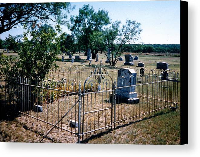 Fence Grave Headstone Stones Canvas Print featuring the photograph Old Grave Site 2 by Cindy New