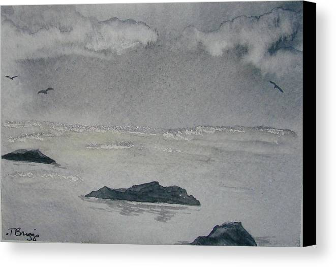 Ocean Canvas Print featuring the painting On The Sea by Dottie Briggs