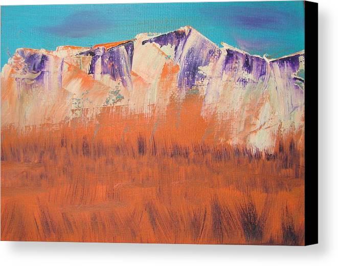 Mountains Canvas Print featuring the painting Orange Grass by Liz Vernand