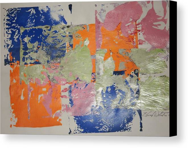 Abstract Canvas Print featuring the painting Orange Marmalade And Blueberry Jam by Edward Wolverton
