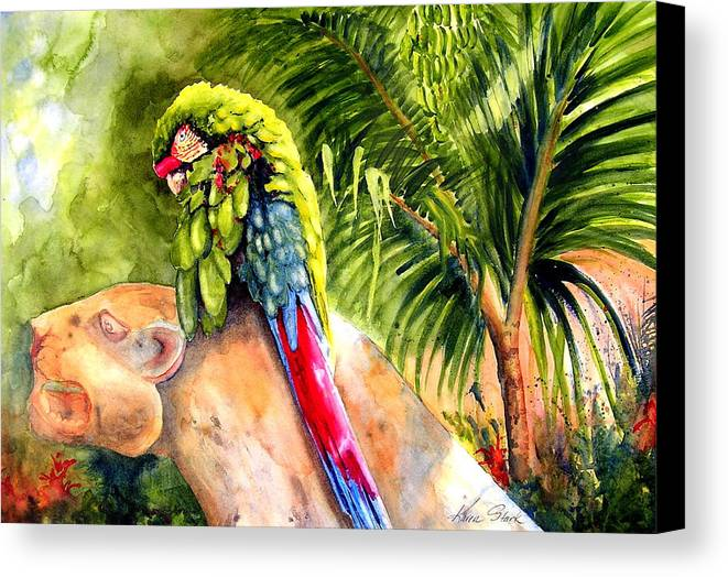 Parrot Canvas Print featuring the painting Pajaro by Karen Stark