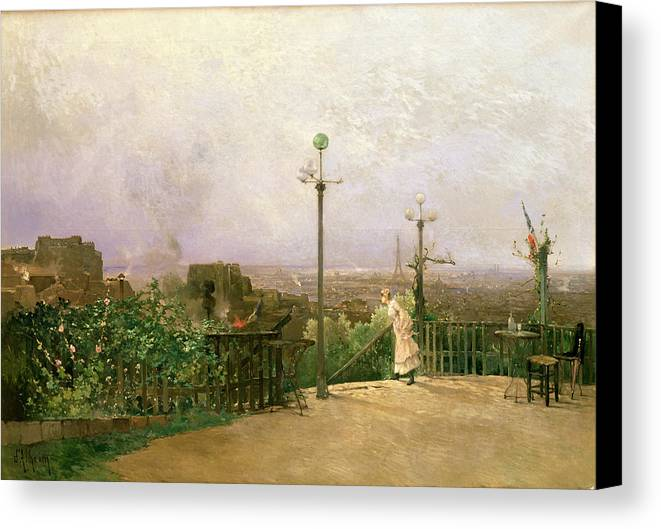 Paris Canvas Print featuring the painting Paris Seen From The Heights Of Montmartre by Jean dAlheim