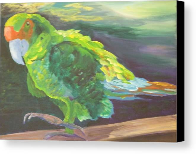 Birds Canvas Print featuring the painting Parrot Posing by Anita Wann