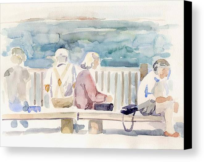 People Paintings Canvas Print featuring the painting People On Benches by Linda Berkowitz