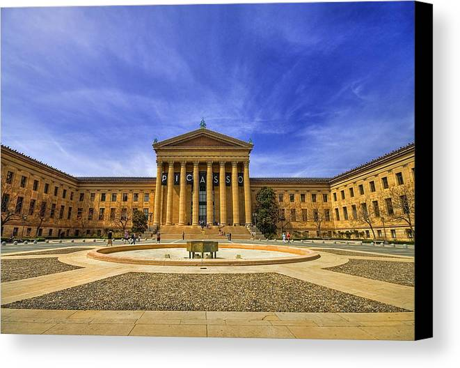Architecture Canvas Print featuring the photograph Philadelphia Art Museum by Evelina Kremsdorf