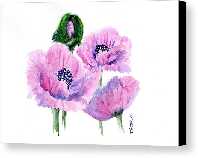 Poppies Canvas Print featuring the painting Oriental Poppies by Pam Taylor