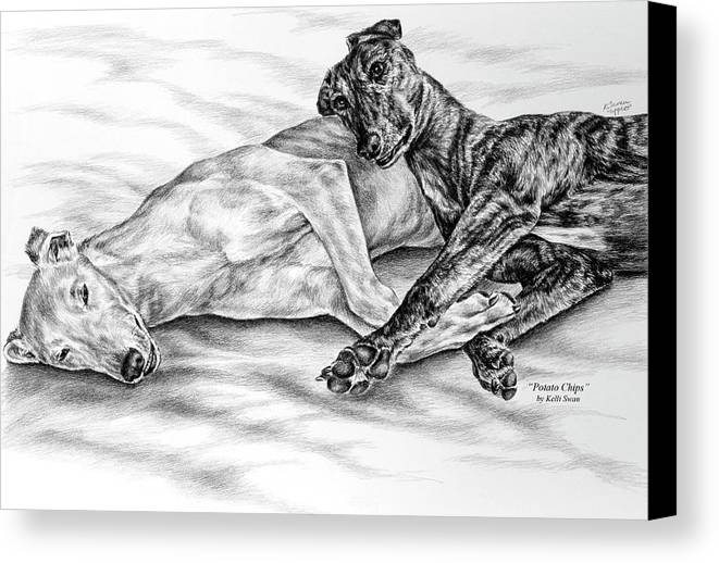 Greyhound Canvas Print featuring the drawing Potato Chips - Two Greyhound Dogs Print by Kelli Swan