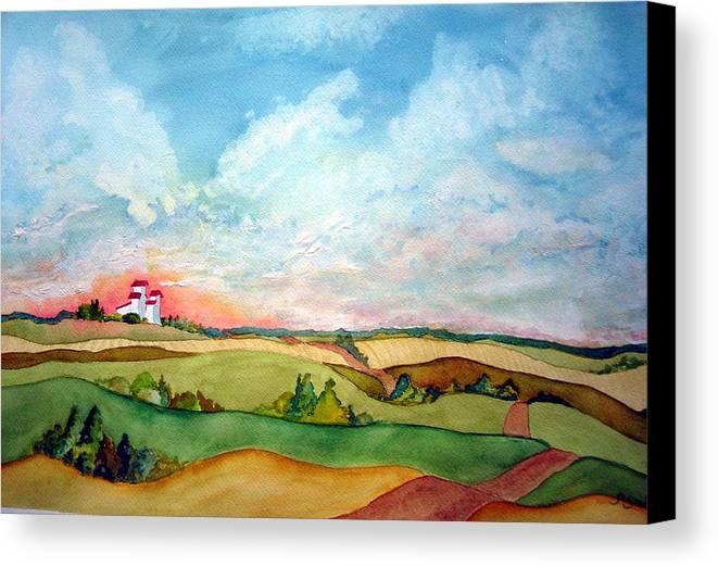 Prairie Grain Elevators Canvas Print featuring the painting Prairie Grain Elevators by Joanne Smoley