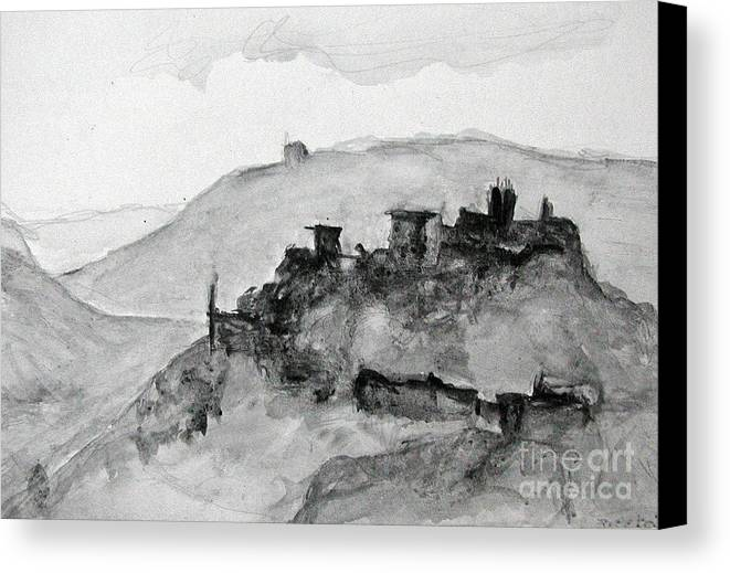 Landscape Canvas Print featuring the painting Proceno Italy by Sarah Goodbread