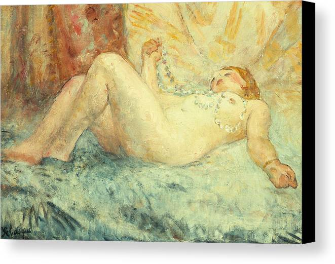 Nude Canvas Print featuring the painting Reclining Nude by Henri Lebasque