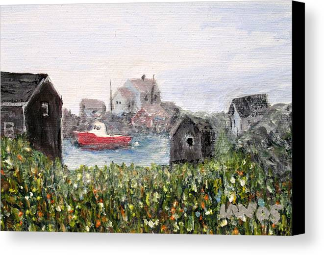 Red Boat Canvas Print featuring the painting Red Boat In Peggys Cove Nova Scotia by Ian MacDonald