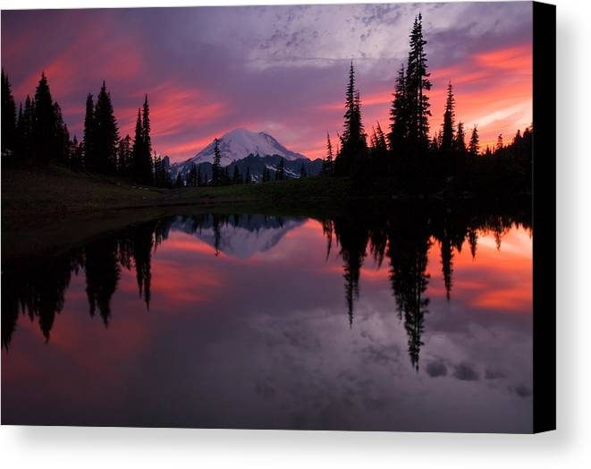 Rainier Canvas Print featuring the photograph Red Sky At Night by Mike Dawson