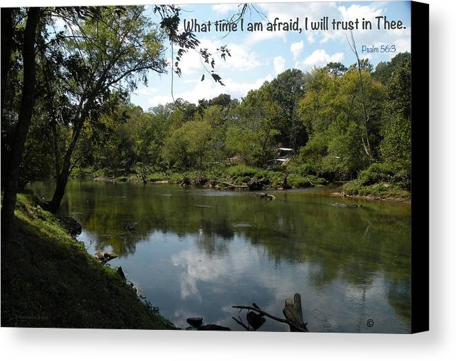 Scripture Canvas Print featuring the photograph Riverside Reflection by VL Boyd