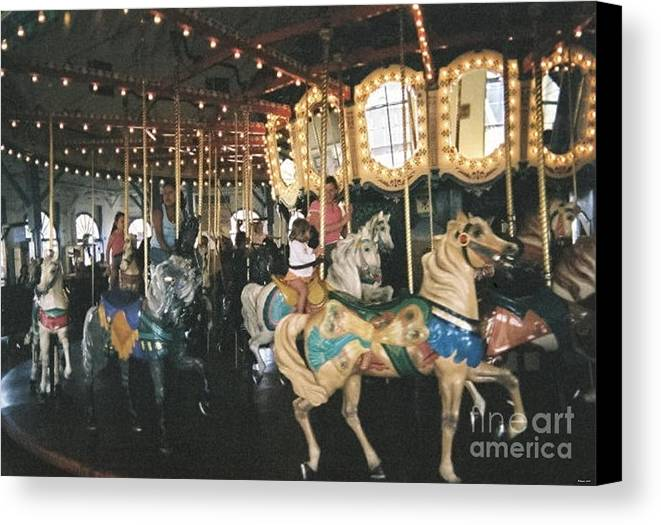 Photography Carousel Merry Go Round Ride Rides Amusement Kids Children Santa Monica Beach Horses Canvas Print featuring the photograph Santa Monica Carousel by Sher Magins